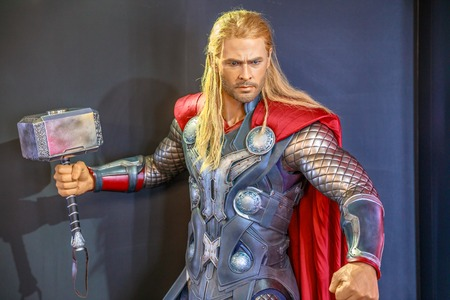 Tokyo, Japan - April 20, 2017: portrait of Thor Chris Hemsworth, God of Thunder, model with an enchanted hammer Mjolnir, from Age of Heroes movie at Mori Tower, Roppongi Hills complex, Minato Tokyo.
