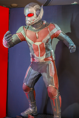 Tokyo, Japan - April 20, 2017: Ant Man model from Age of Heroes movie at Mori Tower, Roppongi Hills complex, Minato Tokyo. Scott Edward Harris Lang is a comics character published by Marvel Comics.