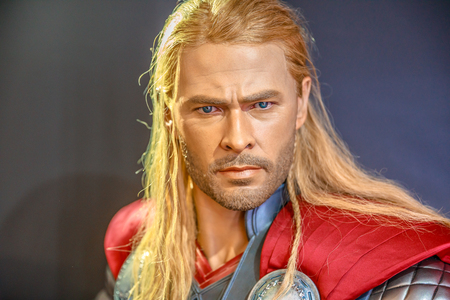 Tokyo, Japan - April 20, 2017: portrait of Thor, the God of Thunder model with from Age of Heroes movie at Mori Tower, Roppongi Hills complex, Minato Tokyo.Thor is a comics character by Marvel Comics. Editorial