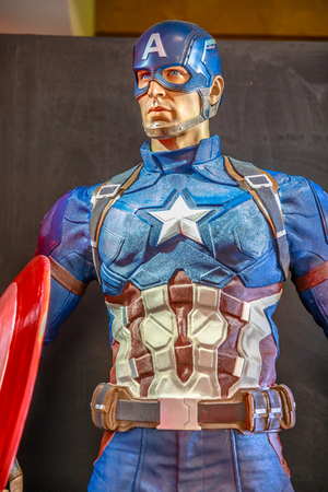 Tokyo, Japan - April 20, 2017: portrait of Captain America model from Age of Heroes movie at Mori Tower, Roppongi Hills complex, Minato Tokyo. Captain America is a Marvel character.