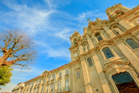 Braga, Portugal. Facade of Church and Convent of Congregados or Convent of Congregation of St. Philip of Neri, an example of religious architecture in Baroque style. Bottom view.