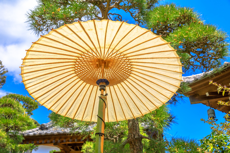 Bottom view of japanese big paper umbrella in Buddhist temple with leaves and trees in blurred background. Hase-dera, Kamakura, Japan. Oriental background.