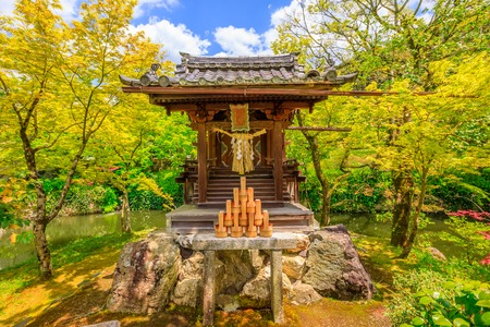 Benzaiten shrine in Eikan-do Zenrin-ji temple in Kyoto, Japan. Zenrin-ji, and is the main temple of Jodoshu Buddhism famous for its lime trees in the fall.