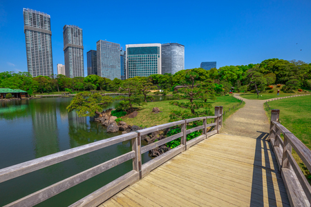 Wooden Path In Hamarikyu Gardens With Buildings Of Shiodome ...