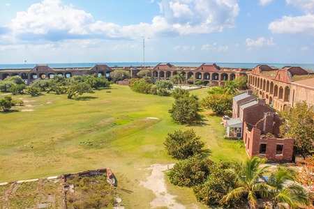 Aerial view of inner courtyard of Fort Jefferson, a historical military fortress, in Dry Tortugas National Park, Florida.Fort Jefferson was built to protect the United States southeastern seaboard. Editorial