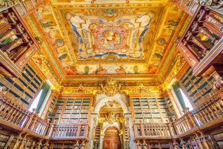 Coimbra, Portugal - August 14, 2017: University library in Coimbra, the Europes oldest university founded in 1290. Unesco World Heritage Site and most important tourist attraction in Coimbra. 新聞圖片