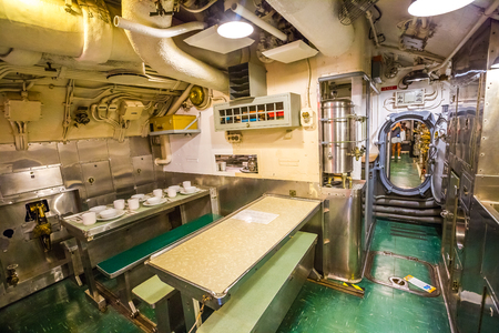 HONOLULU, OAHU, HAWAII, USA - AUGUST 21, 2016: dining room with sink of USS Bowfin Submarine SS-287 at Pearl Harbor. Historic Landmark and popular tourist attraction in Oahu, Hawaii. Editorial