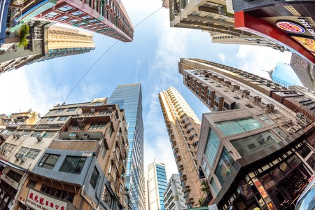 Hong Kong, China - December 4, 2016: fish eye lens view and perspective to high rise buildings in the popular and historic district of Soho in Hong Kong island between Staunton and Shelley Street. Editorial