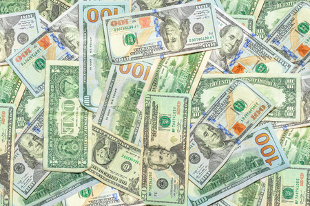 American banknotes background of dollars of America, USD currency. Financial colorful background.