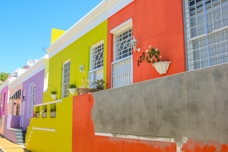 Cape Town, South Africa - January 11, 2014: The colorful houses of Bo-Kaap, famous Malay Quarter is the Muslim Malay village in Cape Town, one of the most picturesque part of town. Editöryel