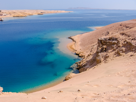 Aerial view of Ras Mohammed National Park with its clear and transparent waters and its famous reef, Sharm el Sheik, Sinai Peninsula, Egypt. Stock Photo