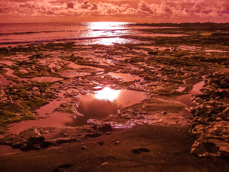red Playa de Las Americas. Colorful sunset reflecting on the water of the ocean and the rocks. Tenerife, Canary, Spain. 免版税图像