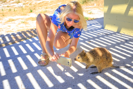 Smiling blonde tourist woman takes selfie with at Quokka on Rottnest Island, Western Australia. Quokka is the typical animal of the island, it is friendly with people and curious.