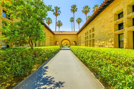 Palo Alto, California, United States - August 13, 2018: Gate to Main Quad at Stanford University Campus, one of the most prestigious universities in the world, Silicon Valley, San Francisco Bay area