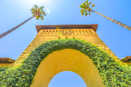 Palo Alto, California, United States - August 13, 2018: bottom view of Gate to Main Quad. Stanford University Campus is one of the most prestigious universities in the world. Silicon Valley, CA.