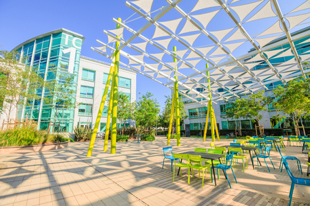 Sunnyvale, California, United States - August 13, 2018: Modern architecture of the Google Tech Corners, the Google Campus in Sunnyvale, Silicon Valley. Building TC1.