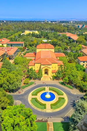 Palo Alto, California, United States - August 13, 2018: aerial view of the fountain and Memorial Auditorium of Stanford University Campus seen from Hoover Tower Observatory. Vertical shot.