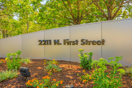 San Jose,California,United States - August 12, 2018: Paypal road sign 2211 N. First Street of Paypal HQ. Paypal is a multinational corporation that provides a virtual bank service and online payments