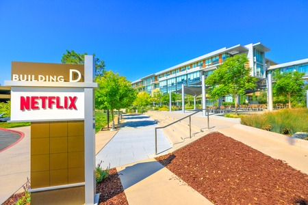 Los Gatos, CA, United States - August 12, 2018: Netflix Headquarters in Silicon Valley. Netflix entertainment service provider for movies and tv series on subscription-based by internet streaming.
