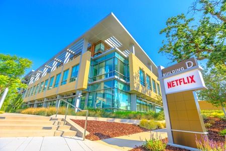 Los Gatos, California, United States - August 12, 2018: Netflix Logo at Netflix Headquarters in Silicon Valley, Ca. Netflix is an entertainment service provider for movies and tv.