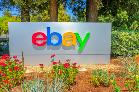 San Jose, California, USA - August 12, 2018: closeup of eBay logo at eBays headquarters in San Jose, Silicon Valley, California. eBay Inc. is a multinational corporation, a pioneer in e-commerce.
