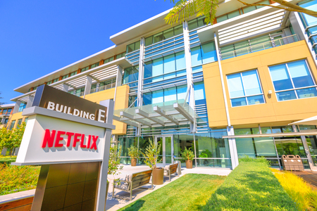 Los Gatos, California, United States - August 12, 2018: The new campus of Netflix HQ made of self-darkening intelligent glass for optimal lighting in Silicon Valley. Editorial