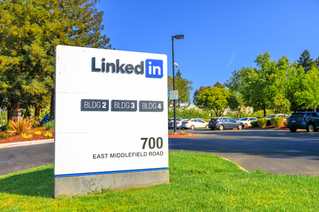 Mountain View, CA, United States - August 13, 2018: Linkedin Corp Sign at 700 East Middlefield Road, new Linkedin company campus HQ in Silicon Valley. Linkedin connects the worlds professionals