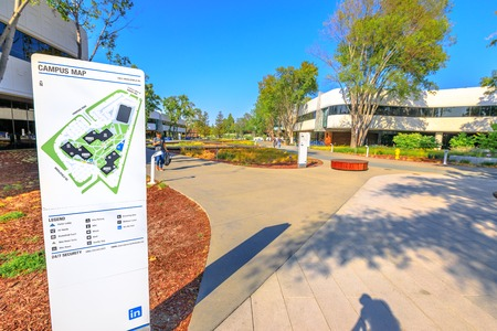 Mountain View, California, United States - August 13, 2018: new Linkedin Corp campus Map in Silicon Valley. Linkedin is a business and employment oriented professional social network service.