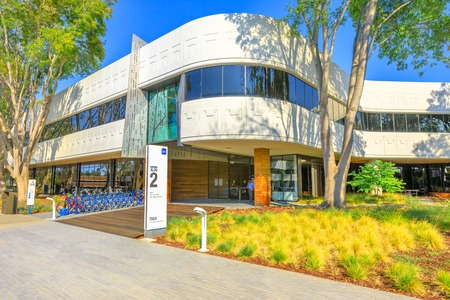 Mountain View, California, United States - August 13, 2018: new Linkedin company campus HQ in Silicon Valley. Linkedin is a business and employment oriented professional social network service.