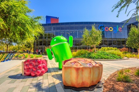 Mountain View, CA, USA - August 13, 2018: Android Nougat at Googleplex in Google headquarters a technology company leader in internet services, advertising, search engine, hardware and software. 報道画像