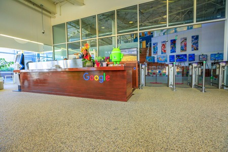 Mountain View, California, USA - August 13, 2018: interior of Google campus headquarters. Google technology company leader in internet services, online advertising, search engine, cloud computing.