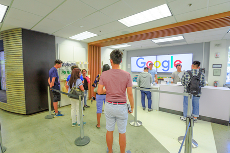 Mountain View, California, United States - August 13, 2018: interior of Merchandise Store of Google that sells T-shirts, hats, mugs and souvenirs with Google, YouTube, Android and branding. Editorial