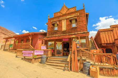 Calico, CA, USA - August 15, 2018: Sweets Shoppe in main street of Cowboy Theme Park, Yermo.Calico was designated Silver State Rush Ghost Town of California near Barstow, San Bernardino County. Editorial