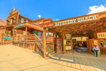 Calico, CA, USA - August 15, 2018: Mystery Shack in main street of Cowboy Theme Park, Yermo.Calico was designated Silver State Rush Ghost Town of California near Barstow, San Bernardino County.