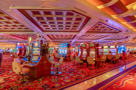 Las Vegas, Nevada, United States - August 18, 2018: slot machine inside the luxurious Wynn Resort Hotel, a 5-star, themed Paradise, Las Vegas Strip. The hotel stands in place of old Desert inn.
