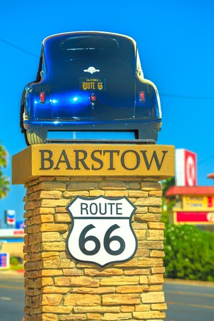 Barstow, California, USA - August 15, 2018: Barstow Sign on Route 66, Main Street in San Bernardino County, an important transportation center for Inland Empire in Southern California. Vertical shot.