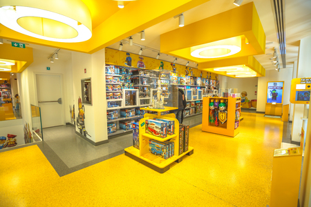 MILAN, ITALY- MARCH 7, 2017: upper floor interior of the toy store of Milano, Lego bricks. Located in Piazza San Babila square at the end of Corso Vittorio Emanuele II from Piazza Duomo square Editorial