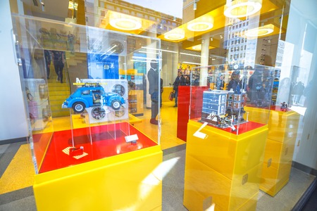 MILAN, ITALY- MARCH 7, 2017: window outside the LEGO bricks store of Milano, Lego bricks. In Piazza San Babila square at the end of Corso Vittorio Emanuele II from Piazza Duomo square Editorial