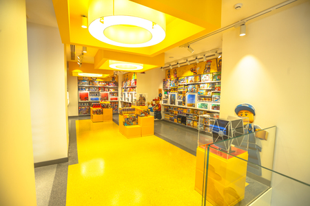 MILAN, ITALY- MARCH 7, 2017: interior of the famous toy store of Milano, Lego bricks. Located in Piazza San Babila square at the end of Corso Vittorio Emanuele II from Piazza Duomo square Editorial