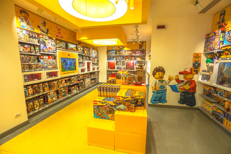 MILAN, ITALY- MARCH 7, 2017: toy store of Milano, Lego bricks. In Piazza San Babila square at the end of Corso Vittorio Emanuele II from Piazza Duomo square