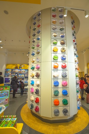 MILAN, ITALY- MARCH 7, 2017: Lego bricks of the Lego store of Milano. At the end of Corso Vittorio Emanuele II street from Piazza Duomo square. Editorial