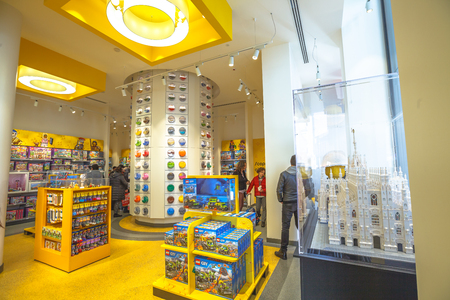 MILAN, ITALY- MARCH 7, 2017: ground floor interior of the Lego store of Milano, selling Lego bricks. In Piazza San Babila square.