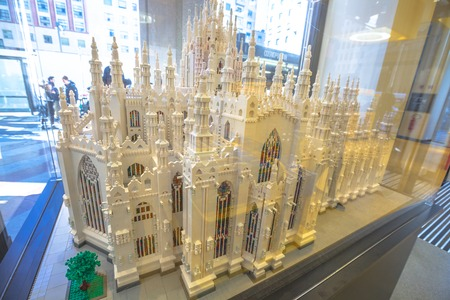 MILAN, ITALY- MARCH 7, 2017: model in Lego bricks of the Dome Cathedral Duomo of Milan. In Lego store of Piazza San Babila square.
