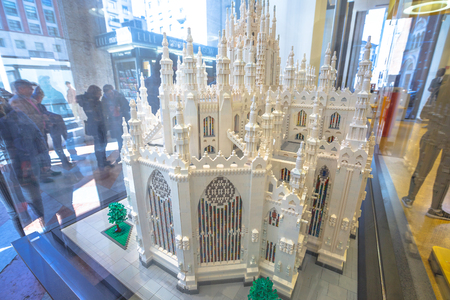 MILAN, ITALY- MARCH 7, 2017: Dome of Milan Cathedral model made of Lego bricks. Lego store of Piazza San Babila square in Milan.