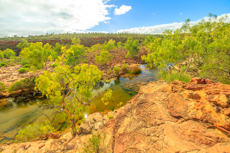 Panoramic views of Ross Graham lookout over Murchison River in Kalbarri National Park, Western Australia. The park is famous for the red sandstone rocks, the gorges and formations carved by the river.