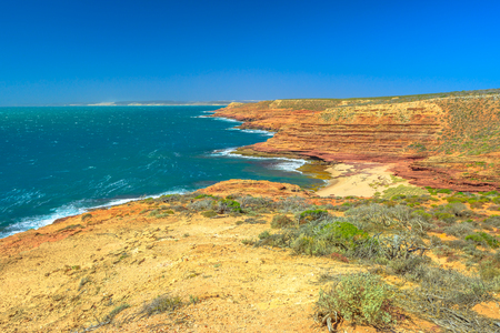 Aerial view of Pot Alley from Eagle Gorge Lookout in Kalbarri National Park, Western Australia. The ocean gorge shows spectacular ocean scenery amidst the rugged gorges. Coral coast, Indian Ocean.
