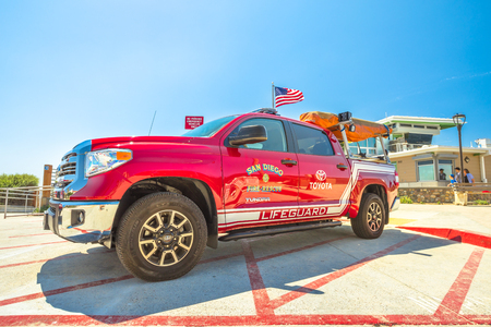 La Jolla, California, United States - August 3, 2018: American lifeguard fire-rescue. Tundra 4x4 Toyota pickup patroling the waterfront and beach of San Diego. California fire, Pacific Coast. Editorial