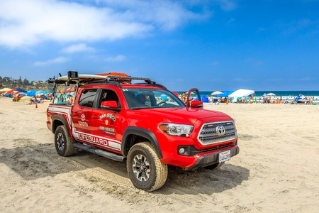 La jolla, California, United States - August 3, 2018: American lifeguard fire-rescue on the sand of La Jolla Beach in San Diego. California fire, Pacific Coast. Blue sky, summer season. Copy space