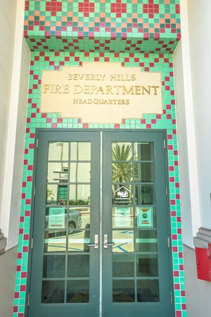 Los Angeles, California, United States - August 6, 2018: close-up of Beverly Hills Fire Department Headquarters entrance near Beverly Hills Building and Safety and Beverly Hills Police Department.