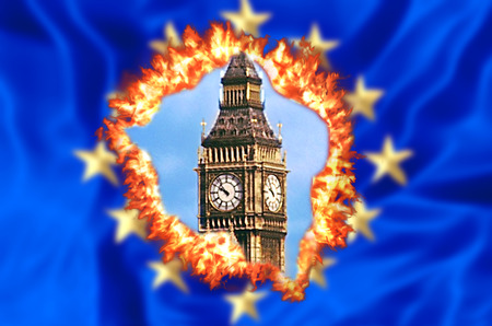 European flag on fire for United Kingdom exit with Big Ben tower of London, the house of a British parliament. The financial concept for Brexit and EU division. Foto de archivo